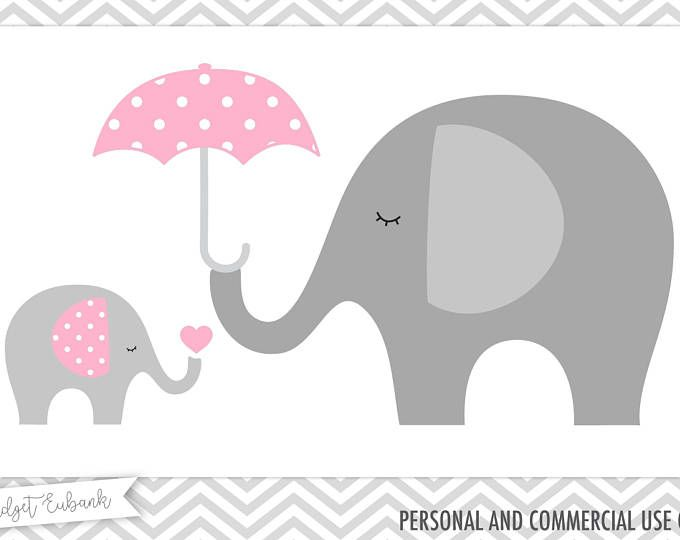 BABY GIRL Clipart, Cute Elephant Clipart, Pink Elephants, Baby.