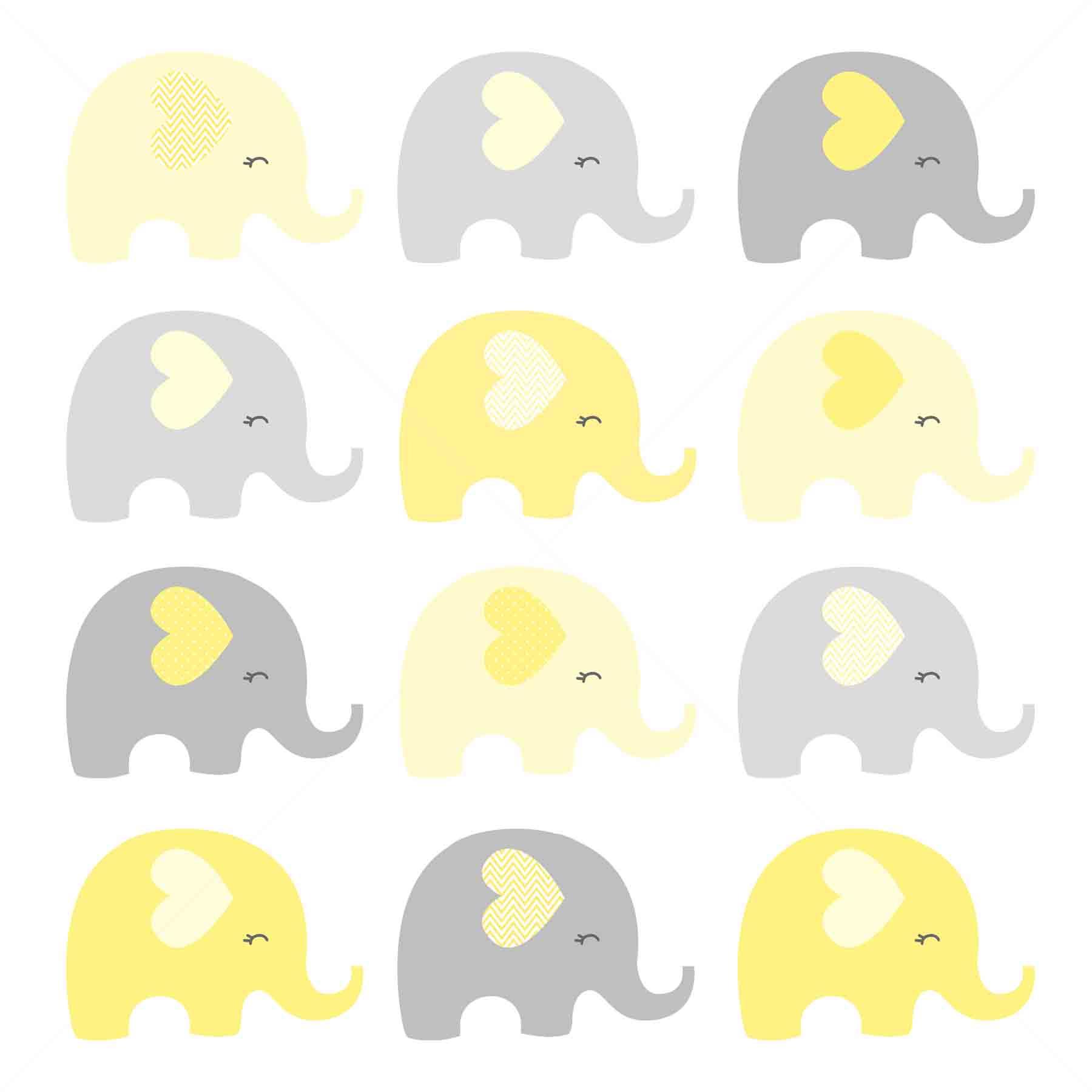 Clipart Elefante Amarelo e Cinza.
