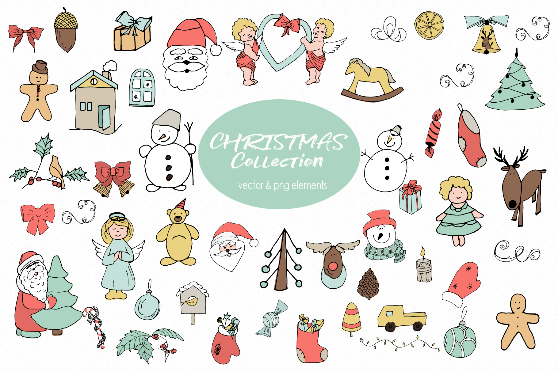 Christmas and Winter Vector clipart Winter elements Santa.