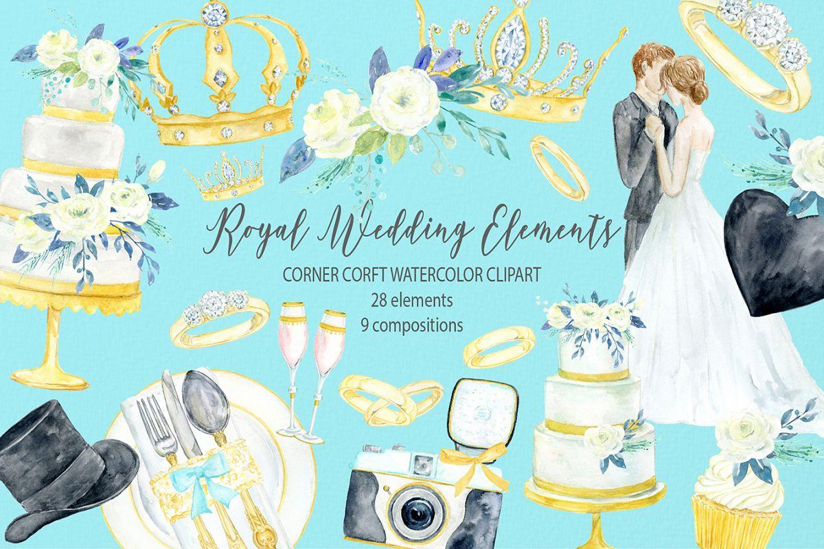 Watercolor clipart royal wedding elements.