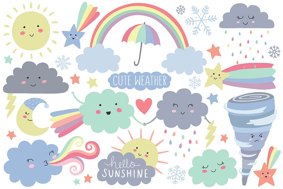 Cute Weather Design Elements Clipart.