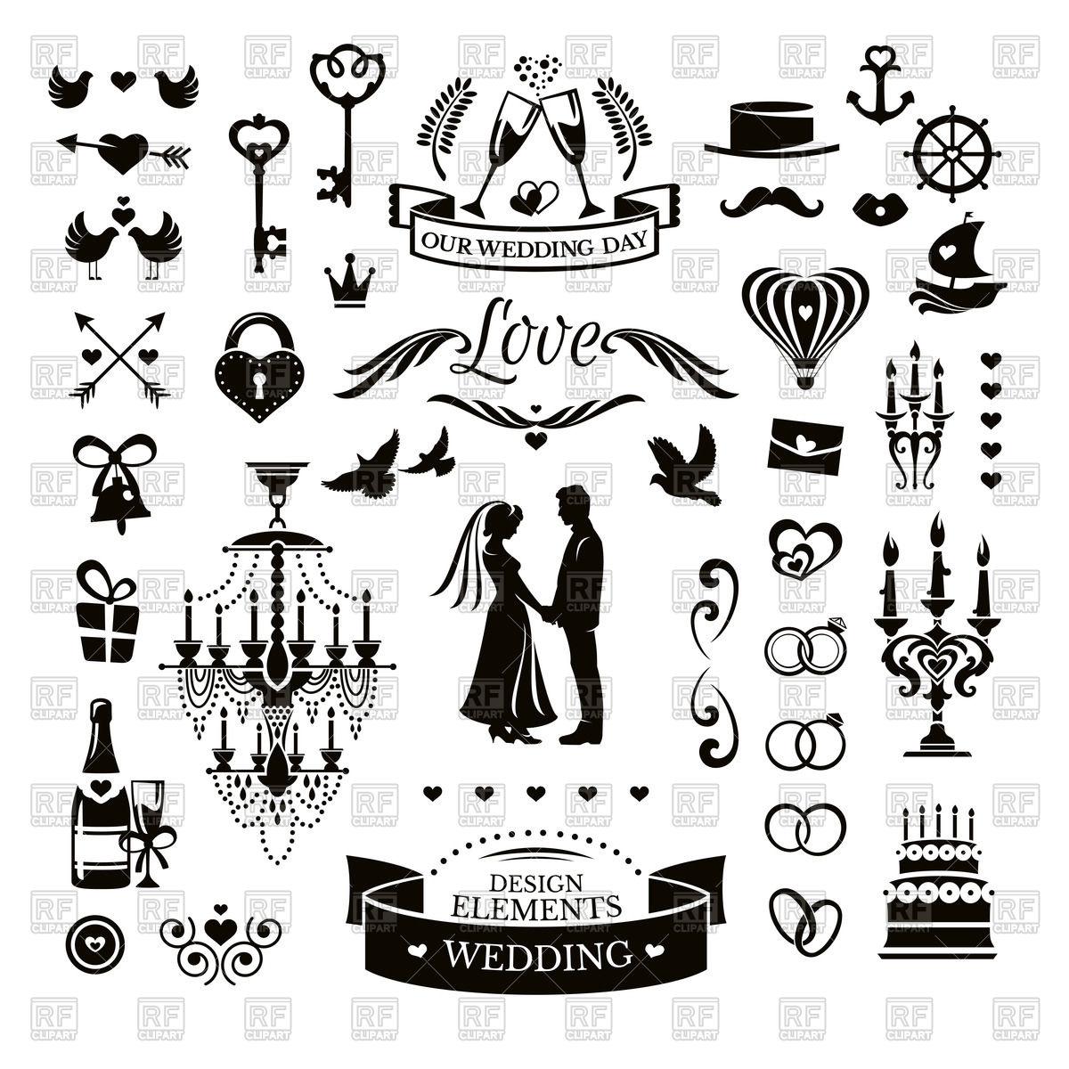 Wedding Elements Clipart.