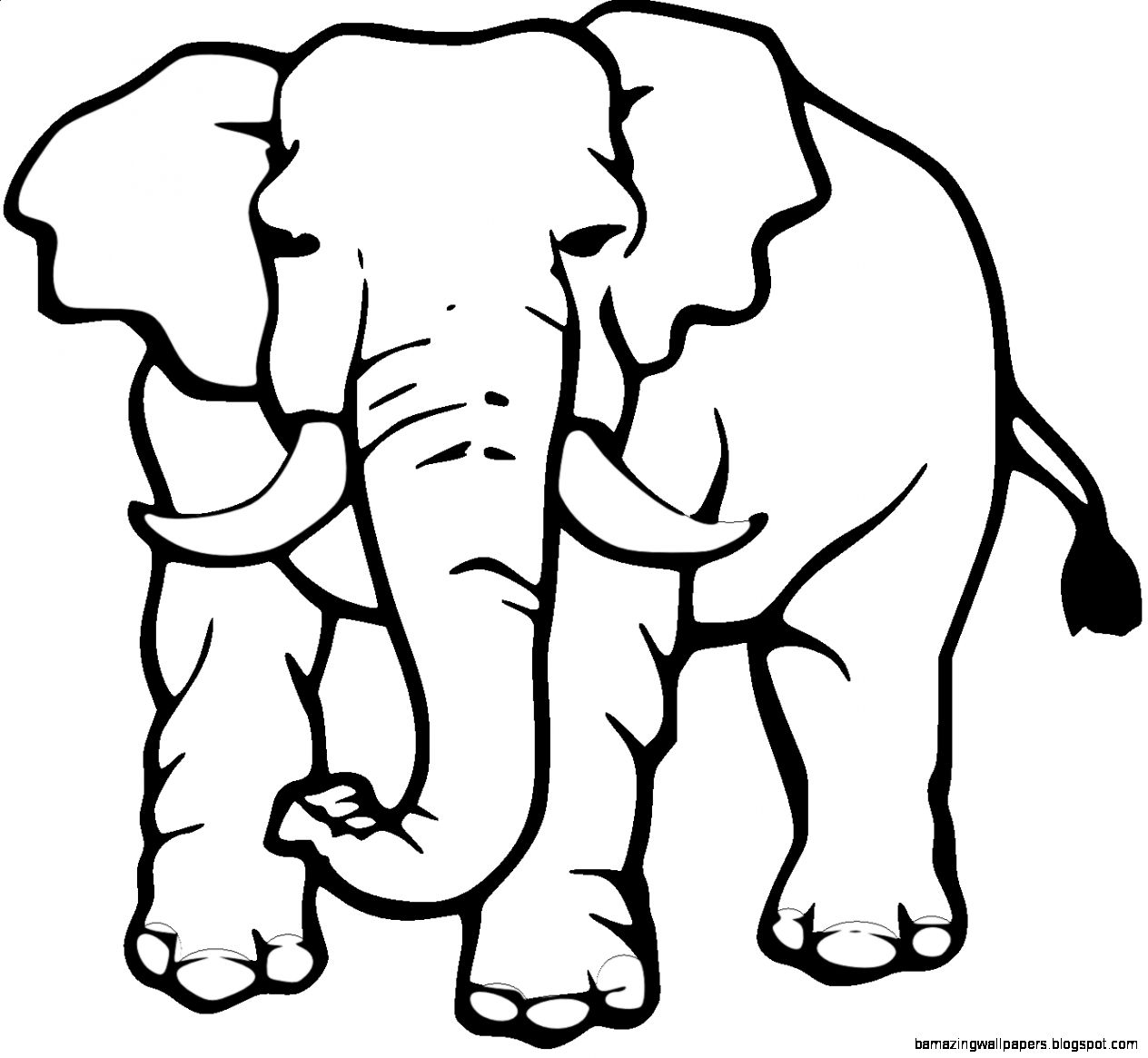 African Elephant Black And White Clipart.