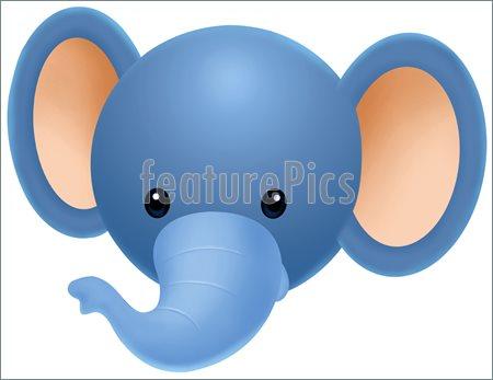 Baby Elephant Face Clipart.