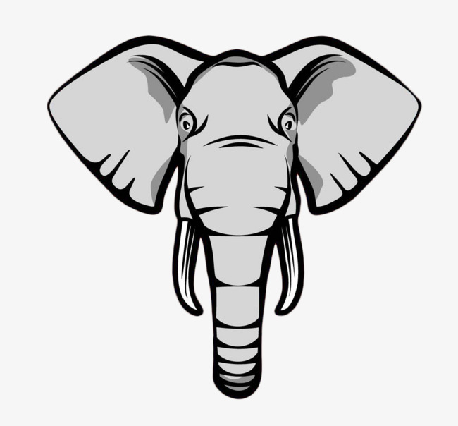 Cartoon Elephant Head Free Of Material, Elephant Clipart, Head.