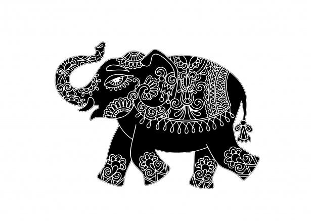 Elephant Clipart Mehndi Pattern Free Stock Photo.