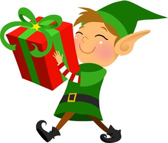 Clip art of a grinning elf carrying a large wrapped.
