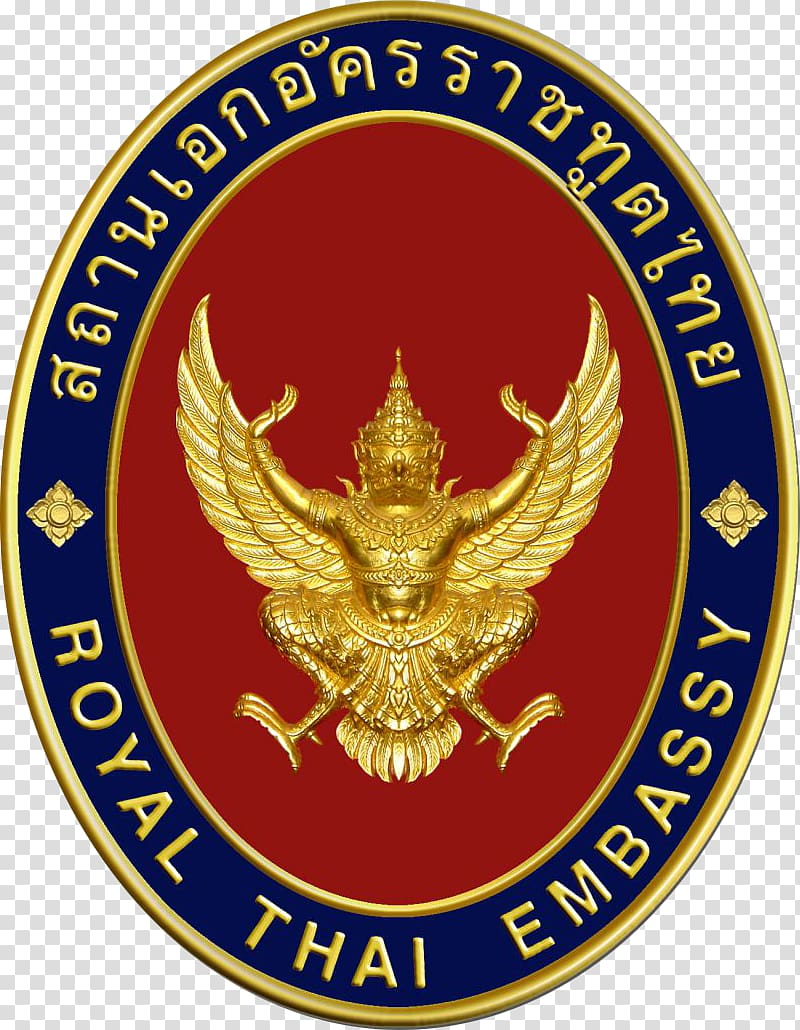 Blue, red, and gold Royal Thai Embassy logo, Embassy of.
