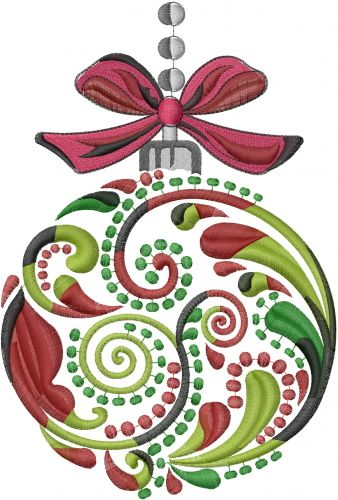 Christmas Ornament Embroidery Design.