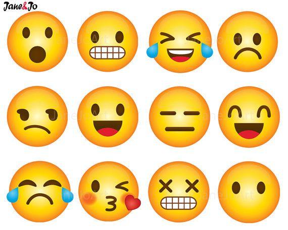 40 Emoji Clipart, Emoji Clip art, Smiley Face Emoji Clipart.