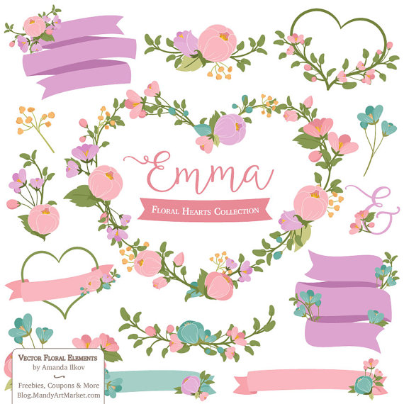 Emma Floral Heart Clipart Vectors in Garden Party by.