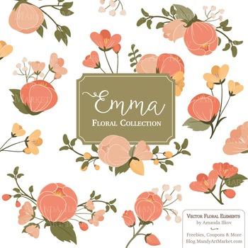 Emma Floral Clipart & Vectors in Antique Peach.