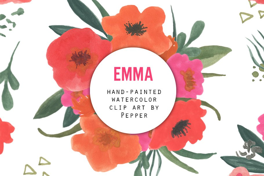 Watercolor Flower Clipart.
