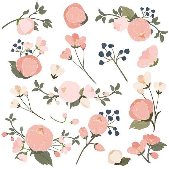 Emma Floral Bunches Clipart & Vectors.