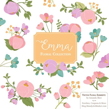 Emma Collection Floral Clipart & Vectors in Garden Party.