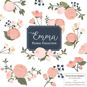 Emma Collection Floral Clipart & Vectors in Navy Blush.