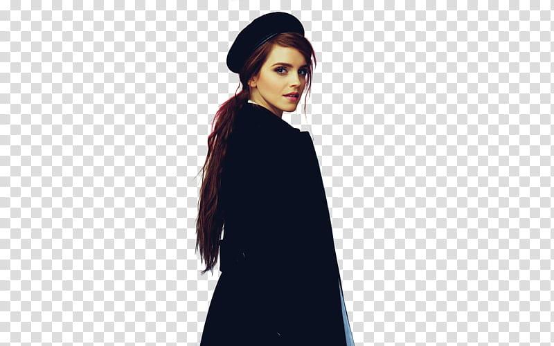 Emma Watson, standing Emma Watson wearing black uniform.