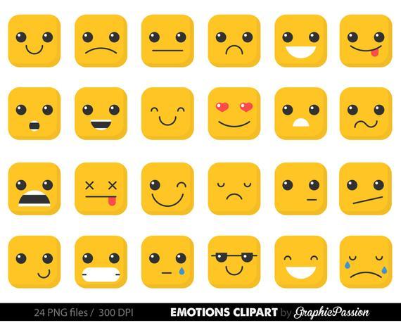 Emotion clipart, feelings clipart Faces Collage Sheet Emoji Calendar  Stickers Erin Condren Happy Planner Kikki Digital Emoticons Clip Art.