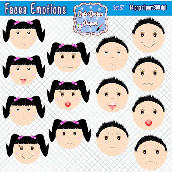 Faces emotions clipart, kids feelings, clipart emotions, boy, girl, happy,  sad, surprise, angry, sad boy.