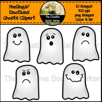 Halloween Feelings / Emotions Ghost Clipart.