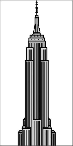 Clip Art: Empire State Building Grayscale I abcteach.com.