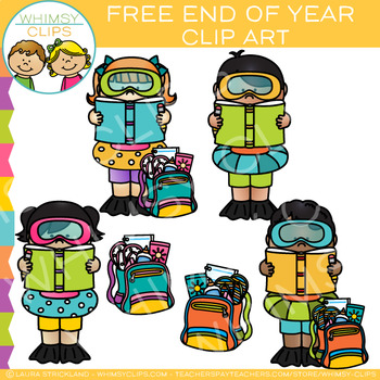 Free End of the School Year Clip Art by Whimsy Clips.