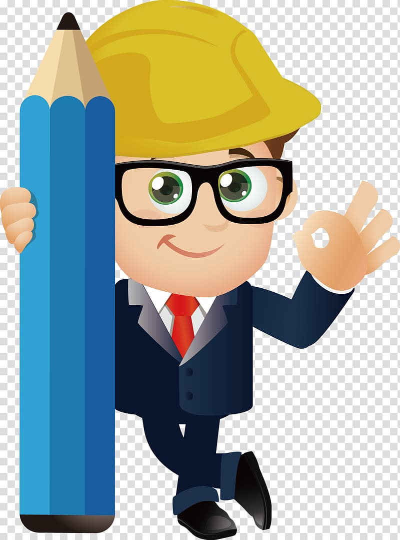 Engineer illustration, Cartoon Engineering, engineer.