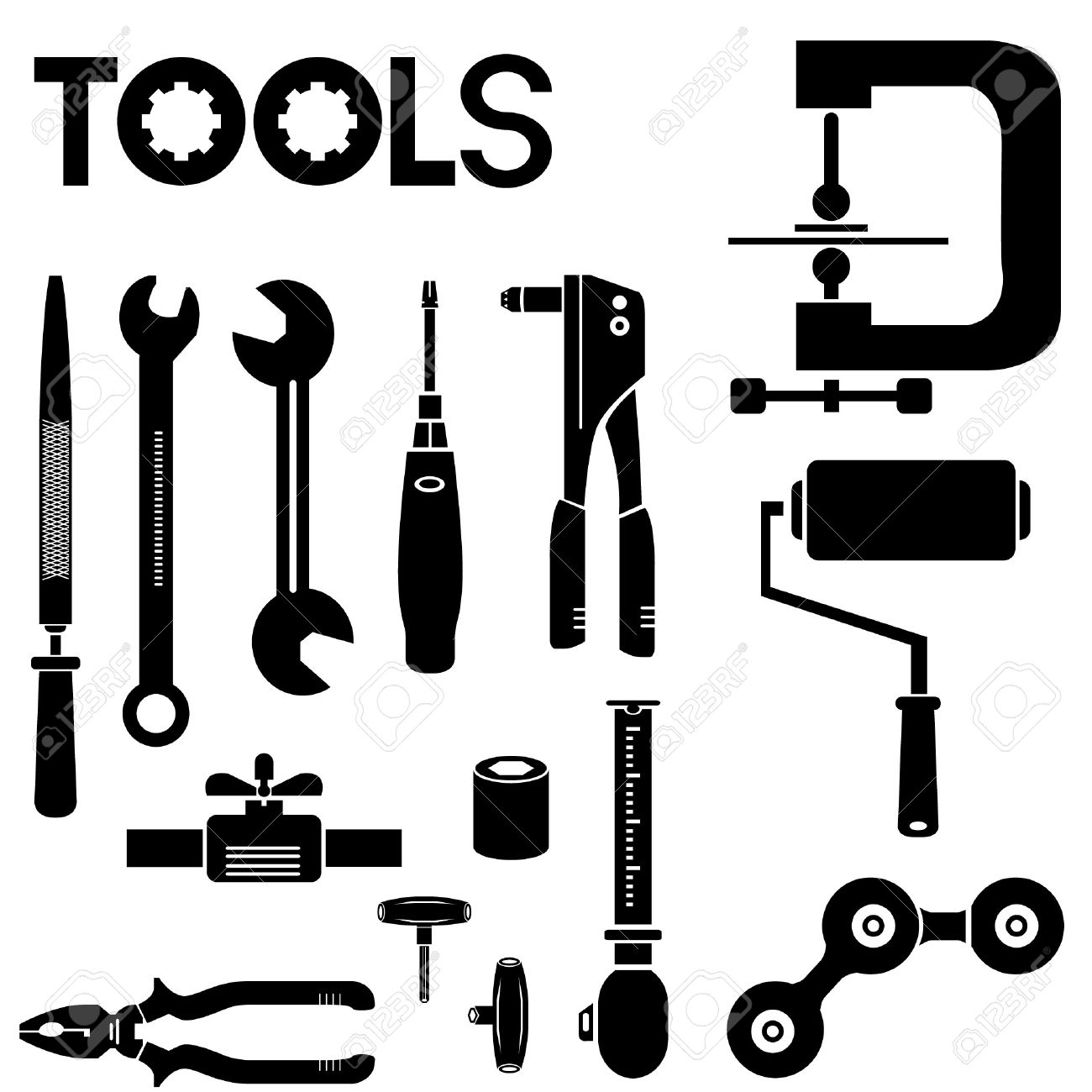Tools, Mechanical Equipment Icon Set, Engineering Tools Royalty.