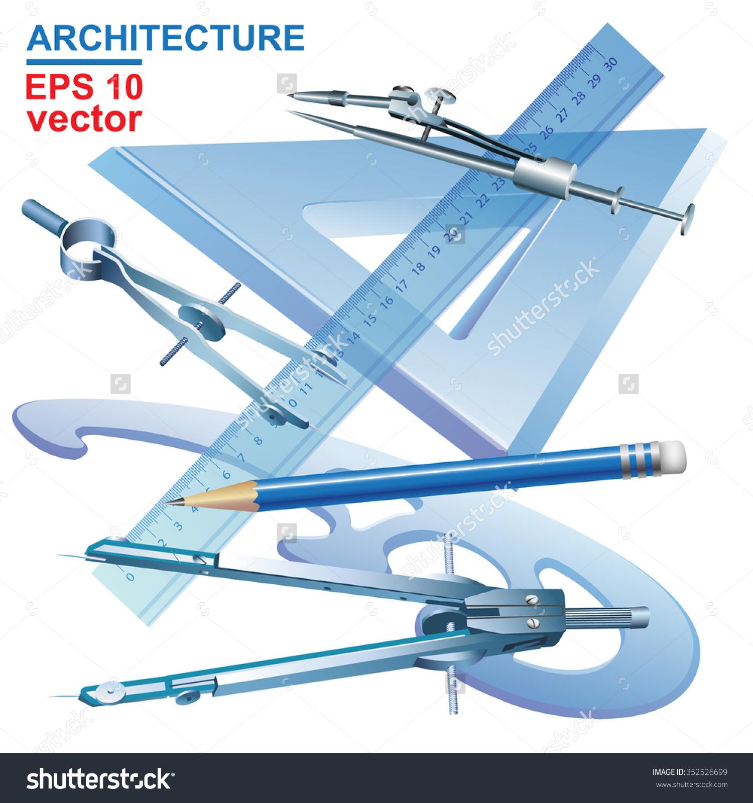 Set Drawing Tools Engineering Symbol Vector Stock Vector 352526699.