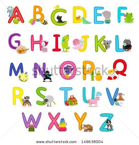 Cute Childrens English Alphabet Fun Cartoon Stock Vector 149638004.