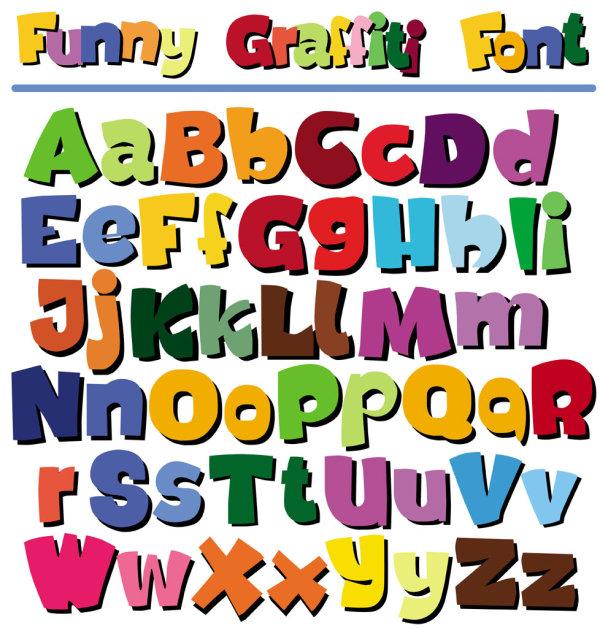 Cartoon POP English letters.