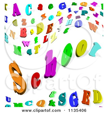 Clipart of a 3d White Sphere with Colorful Letters over Blue.