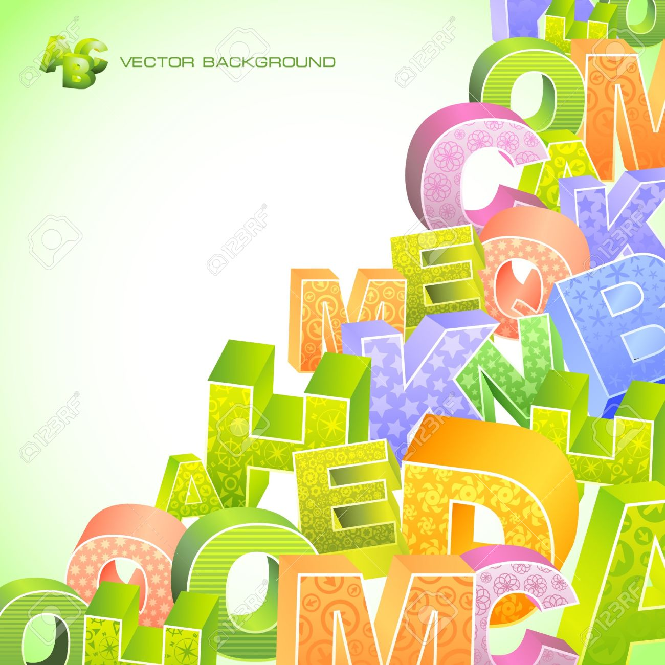 Abstract Background With Letter Mix. Royalty Free Cliparts.