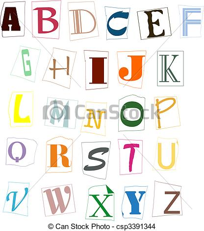 EPS Vector of The letters of the English alphabet of different.