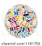 Clipart of a Colorful English Alphabet a Through Z Collage in Blue.