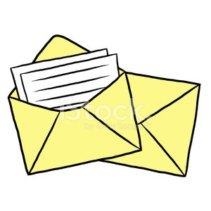 paper and yellow envelopes Clipart Image.