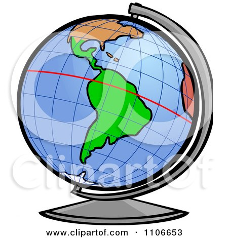 Clipart Desk Globe With The Equator Line.