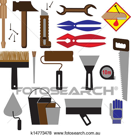 Construction tools and equipment Clip Art.