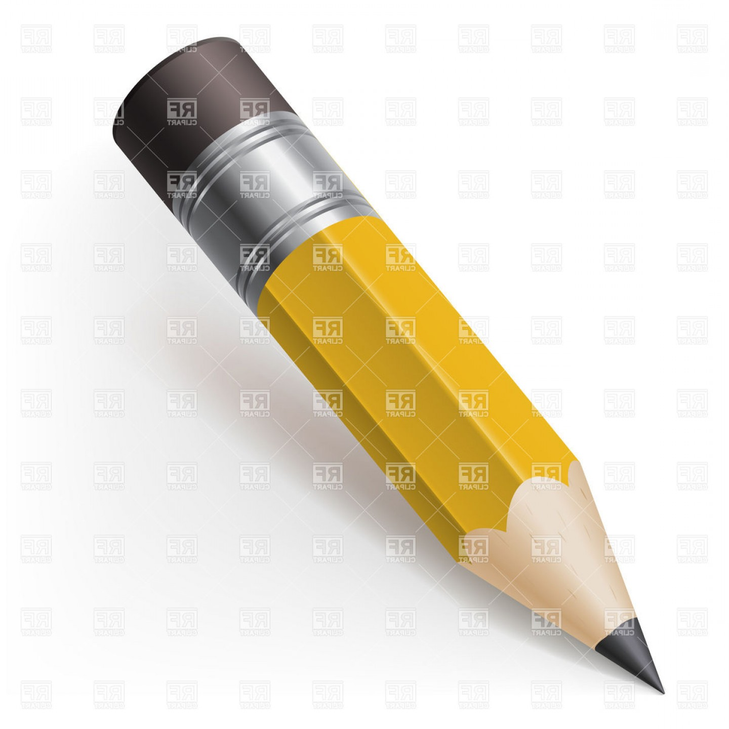 Free Realistic Icon Of Pencil With Eraser Vector Clipart Graphic.
