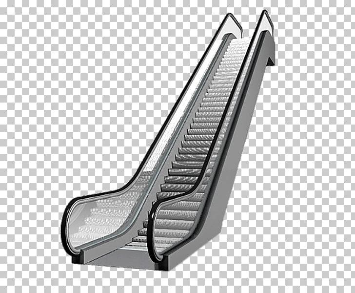 Escalator, gray and black escalator illustration PNG clipart.