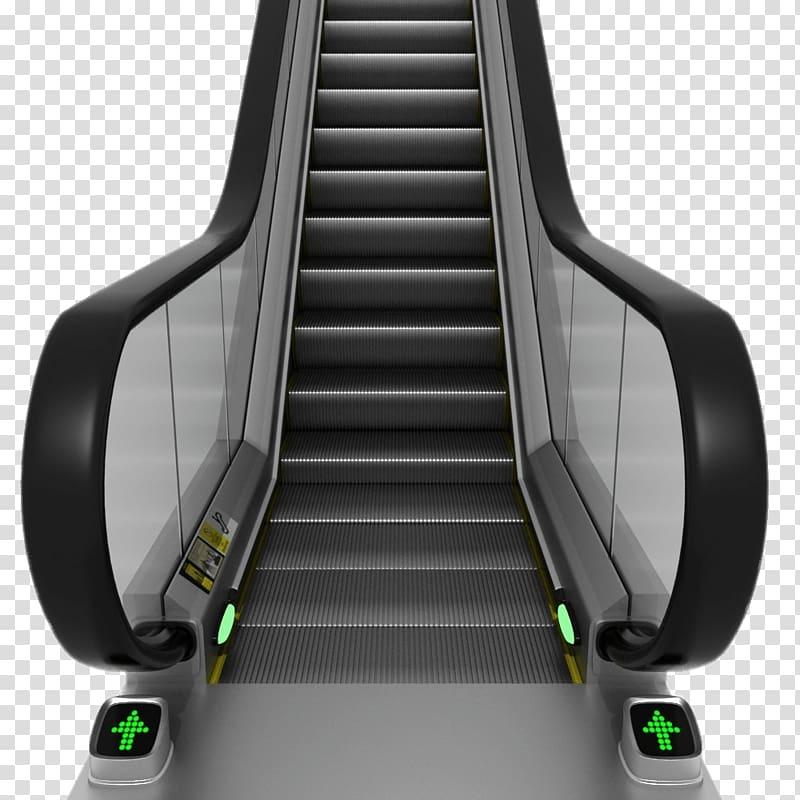 Black and gray escalator, Escolator Front View transparent.