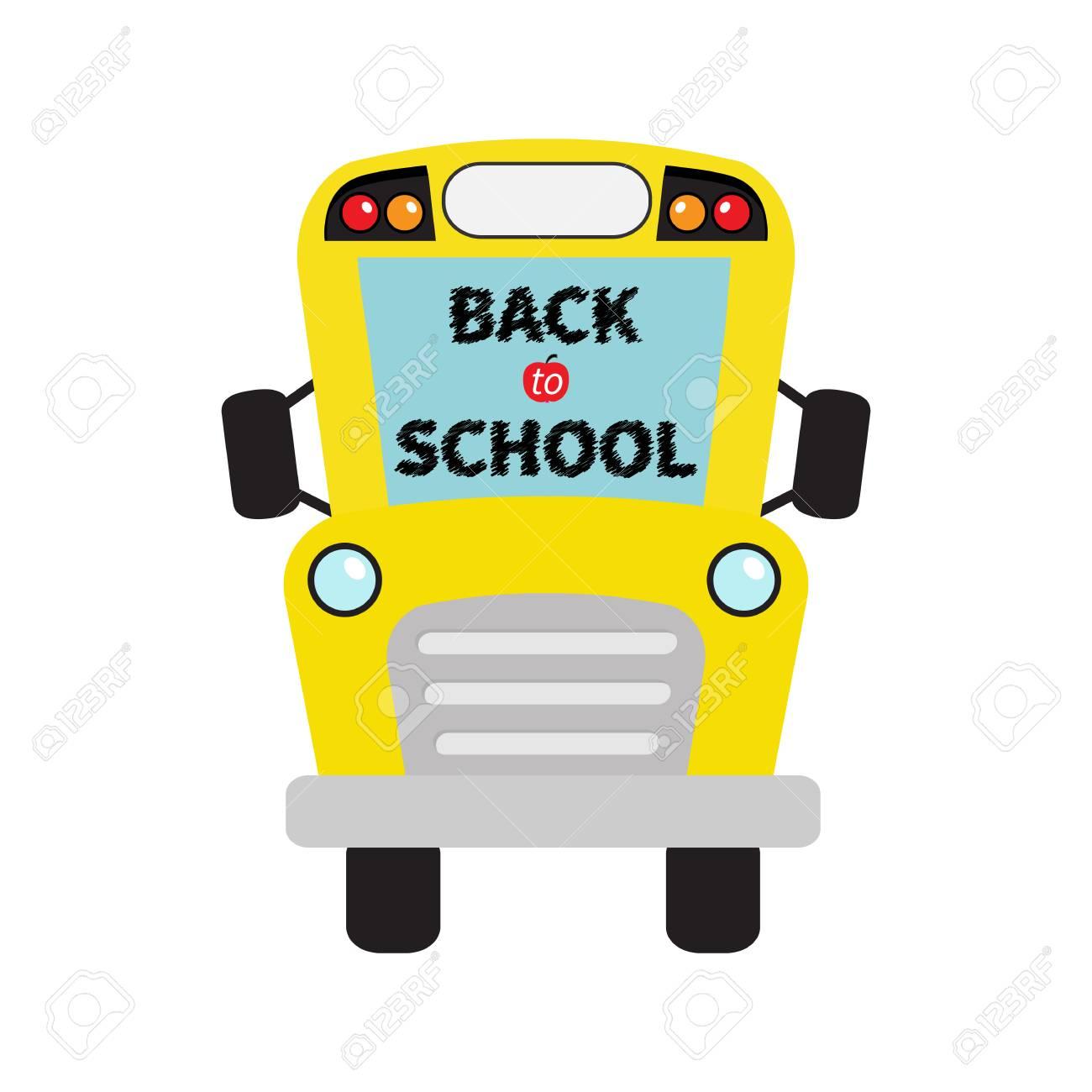 De vuelta a la escuela. Niños del autobús escolar amarillo. Dibujos  animados clipart. Transporte. Colección de bebé Vista de la cara completa.