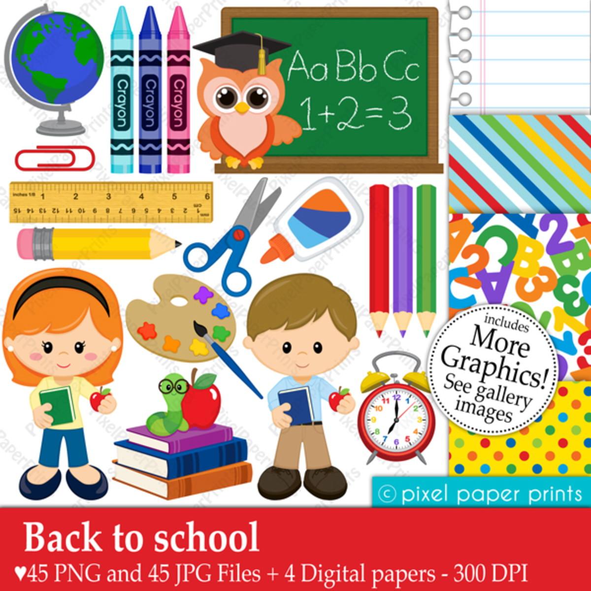 Kit Digital Volta às aulas Material escolar Clipart PP.