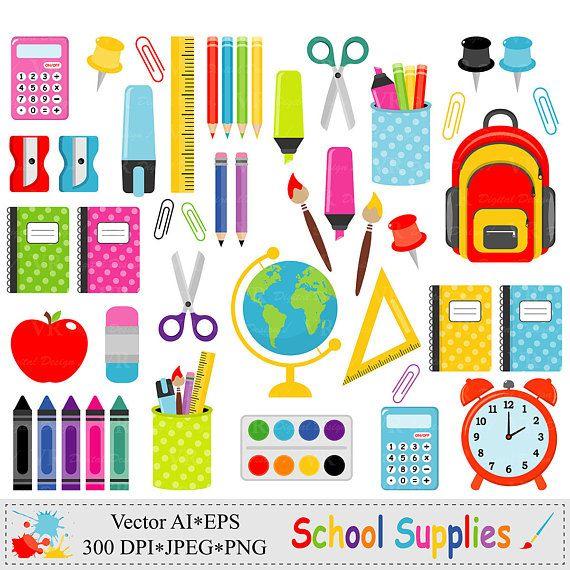 Material escolar Clip Art, gráficos de regreso a la escuela.