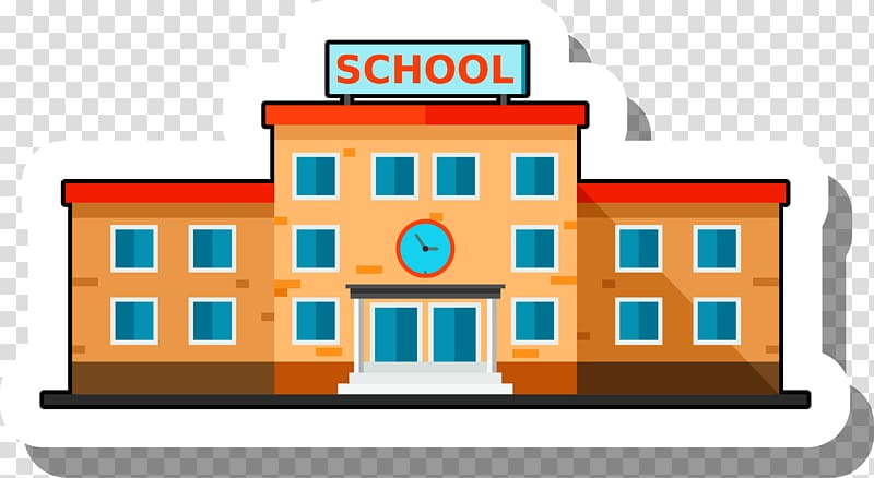 Yellow and red school illustration, School Building Escuela.