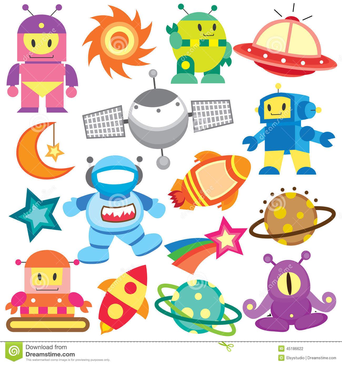Grupo Do Clipart Do Espaço E Do Robô Ilustração do Vetor.