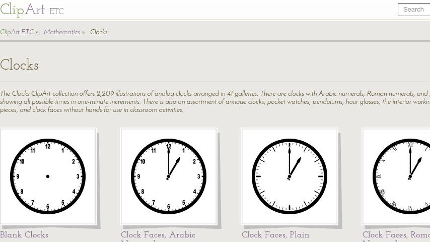 Clipart ETC: Clock Menu.