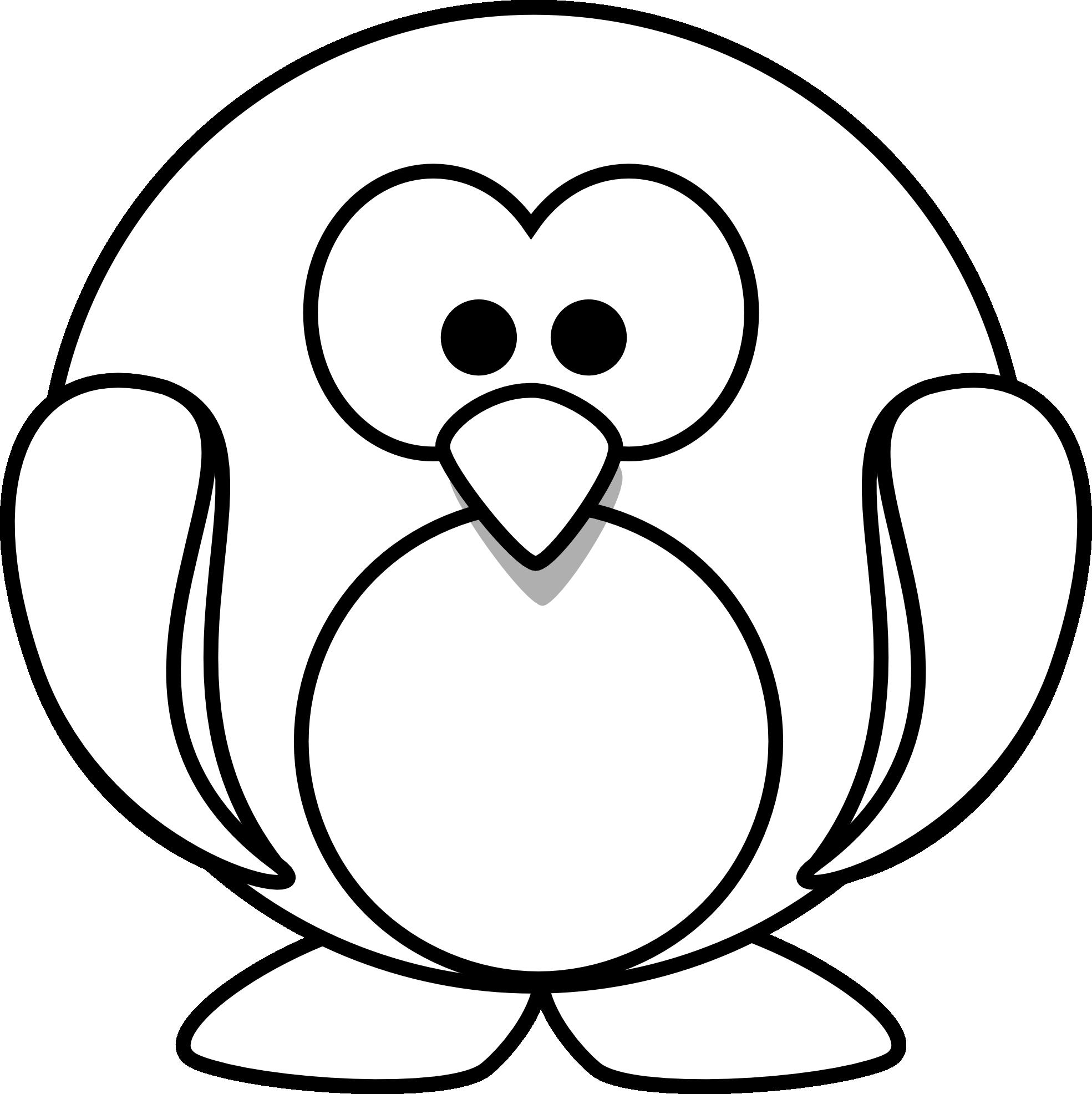 lemmling Cartoon penguin 1 black white line art.