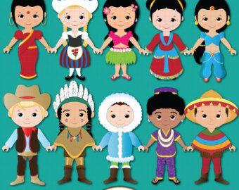 Cute Children of the World Digital Clipart Ethnic Kids.