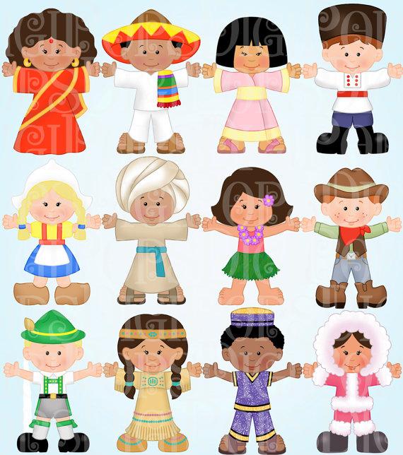 Children Around the World Digital Clip Art Set.